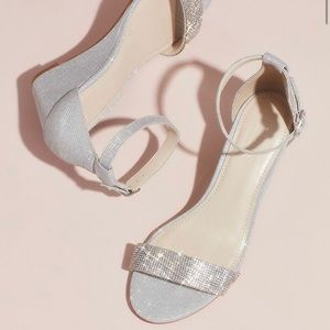 Crystal-Topped Wedge Sandals w/ Ankle Strap